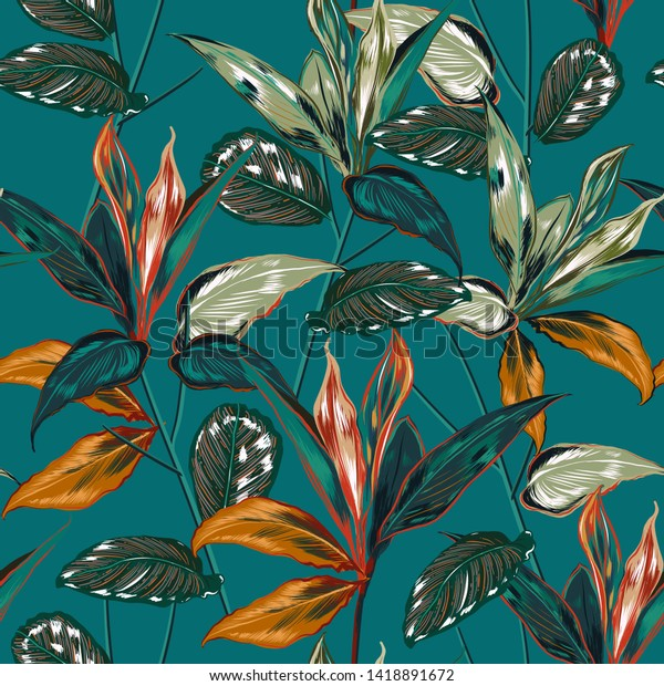 Retro Tropical forest  botanical Motifs scattered random. Seamless vector texture Floral pattern in the many kind of wild plants Printing with in hand drawn style on vintage green background color
