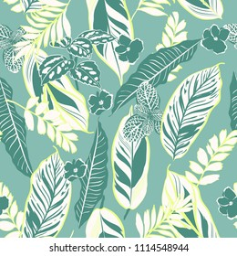 Retro tropical leaves and foliage seamless pattern vector in hand drawn style for fashion fabric and all prints on stylish vintage green  background color