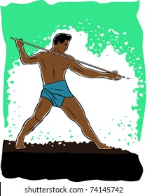 Retro Tropical Native Man Spear Fishing in the Surf Vector Illustration