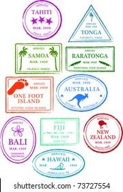 Retro Tropical Set of Fun Island Passport Stamps Vector Illustration