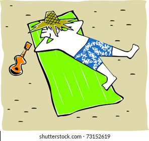 Retro Tropical Sunbathing Tourist Dude Napping in the Sun Vector Illustration