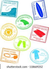 Retro Tropical Surf Break Passport Stamps Vector Illustration