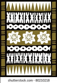 Retro Tropical Tapa Cloth Background in Brown Vector Illustration