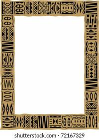 Retro Tropical Tapa Cloth Frame Border Vector Illustration