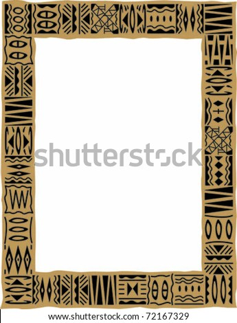 Retro Tropical Tapa Cloth Frame Border Stock Vector Royalty Free