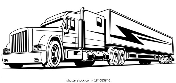retro truck, big, on the road, symbol, transportation, isolated, vector illustration