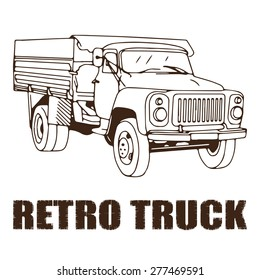 Retro truck in ink sketch freehand drawing style. Old russian lorry vector illustration may be used for web, prints or stickers design.