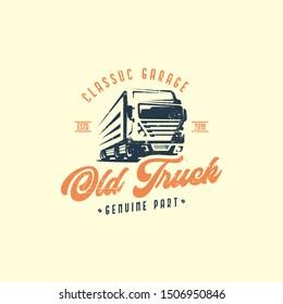 Retro truck logo template vector. Vintage truck emblem logo concept. Retro garage logo template