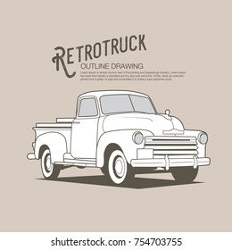Retro truck - old vehicle vector outline drawing