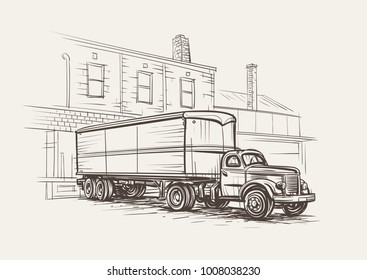Retro Truck Semitrailer at loading dock hand drawn sketch illustration. Vector.