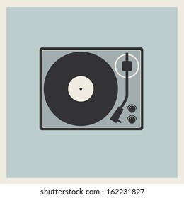 Retro turntable vinyl record player vector