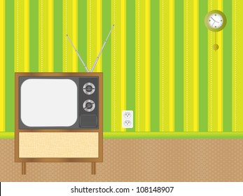 Retro TV against the background Retro Living Room. Eps10 vector.