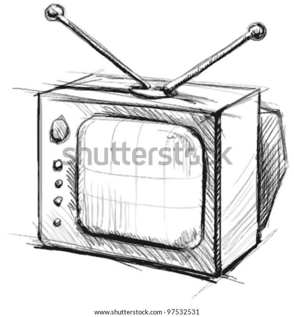 Retro Tv Antenna Hand Drawing Sketch Stock Vector (Royalty Free
