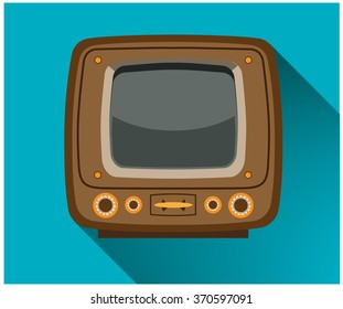 Retro TV in a flat style on blue background