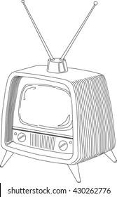 retro tv hairlines monochrome