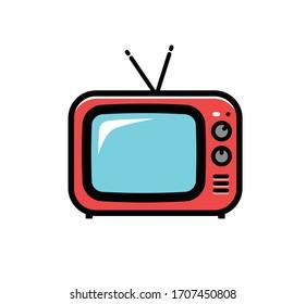 Retro TV icon. Cartoon vector illustration isolated on white background