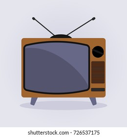 Retro Tv Icon vector illustration flat design style on gray background.
