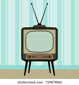 Retro TV in the Interior. Vector Illustration. Flat  Style. Retro Decorative Background, Cards, Posters, Banners, Stickers, Placards.