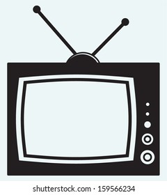 Retro TV isolated on blue background
