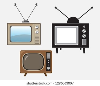 retro tv isolated on white background. Vector EPS 10.