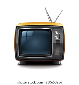 Retro tv isolated on white photo-realistic vector illustration