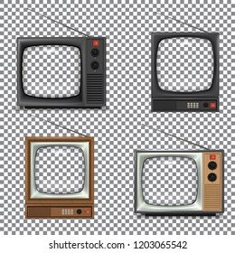Retro TV Mockup pack on transparency grid for place your artwork behind