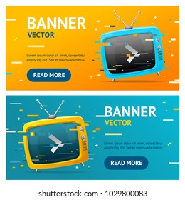 Retro TV Not Found Broadcasting Concept Glitch Style Banner Horizontal Set Disconnect Problem. Vector illustration of Glitched Banners