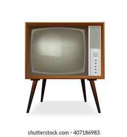 Retro TV. Old Vintage TV Set. Vector Illustration. Isolated On White Background.