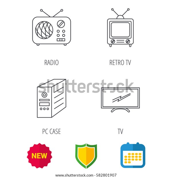 Retro TV, radio and PC case icons. Computer linear sign. Shield protection, calendar and new tag web icons. Vector