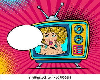 Retro tv set with sexy surprised blonde woman with wide open eyes and mouth and rising hands screaming. Vector background in comic retro pop art style. Party invitation.