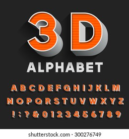 Retro type font with shadow. Alphabet. 3D effect vintage letters, numbers and punctuation marks. Stock vector for your headlines, posters etc.