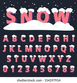 Retro type font with snow, Vector illustration.