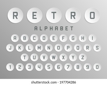 Retro type font vintage bend paper typography. Vector design elements.
