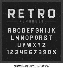 Retro type font vintage chalk typography on chalkboard. Vector design elements.