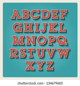 retro type font, vintage typography vector