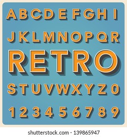Retro type font, vintage typography ,Illustratiom EPS10