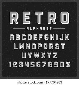 Retro type font vintage typography. Vector design elements.