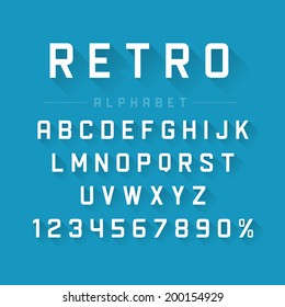 Retro type font vintage typography and long shadow effect. Vector design elements.