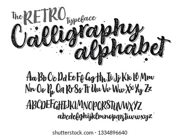 The RETRO Typeface Calligraphy alphabet isolated on white background. Hand drawn texture font for Logo, Poster, etc. Vector logo letters.