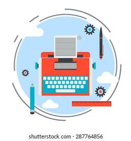 Retro typewriter flat design style icon. Publishing, journalism, blogging vector illustration.