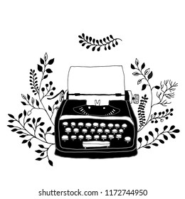 Retro typewriter with leaves decor. Sketch hand drawn illustration vintage style. Trendy pastel colors.