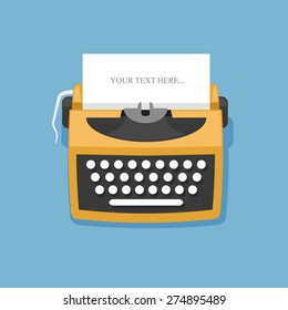 Retro typewriter vector illustration in flat style