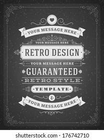 Retro typographic design elements. Template for design invitations, posters and other design.