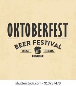 Retro Typographic Poster Design - Oktoberfest - Beer festival vector design
