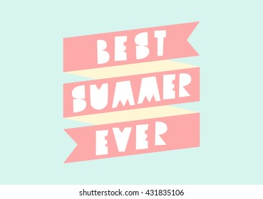 Retro typographic summer design with banner and geometric letters in pastel colors.