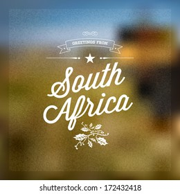 Welcome to south africa images stock photos vectors shutterstock retro typographical vintage touristic greeting label on blurry background greetings from south africa m4hsunfo