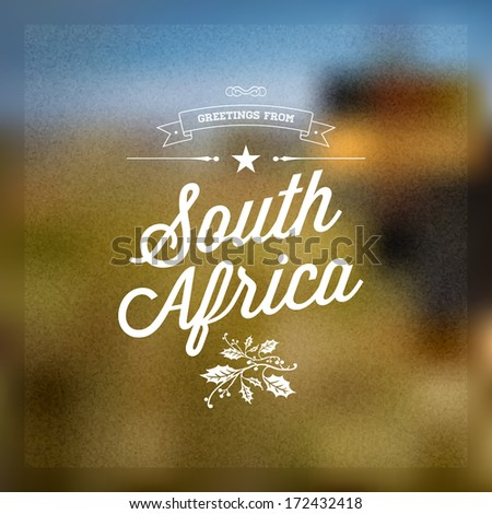 Retro typographical vintage touristic greeting label stock vector retro typographical vintage touristic greeting label on blurry background greetings from south africa m4hsunfo