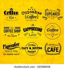 Retro Typography Coffee and Cafe Logo Badge Design