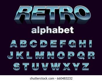 retro typography vector. alphabet
