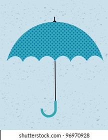 Retro umbrella. Vector illustration